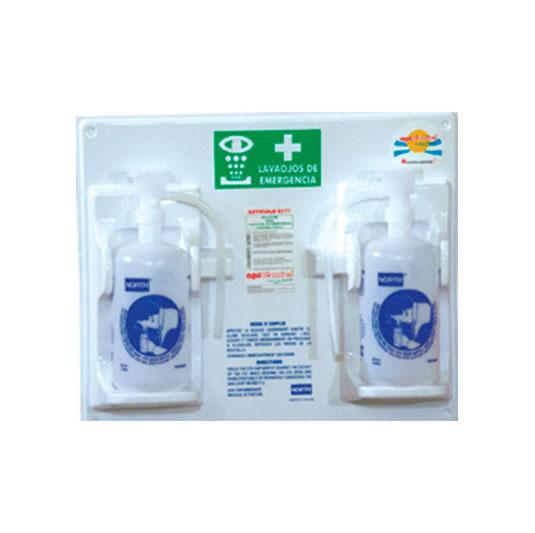 Botella lavaojos de polietileno 6044 accionamiento por gravedad