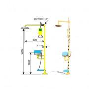 Ducha de emergencia con lavaojos 6011 de acero galvanizado - Accionamiento manual