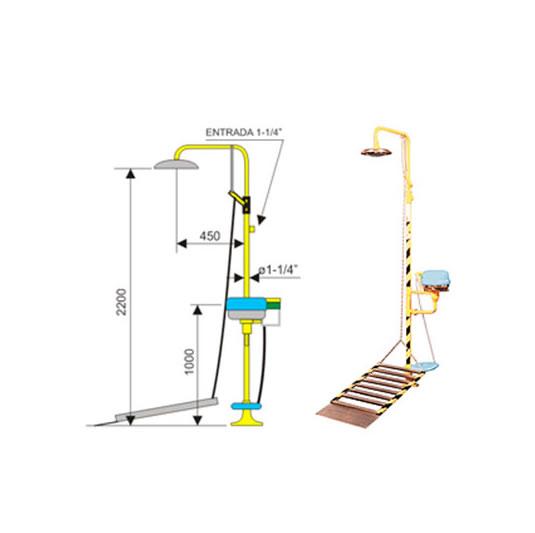 Ducha de emergencia con lavaojos 6012 de acero galvanizado – Accionamiento plataforma