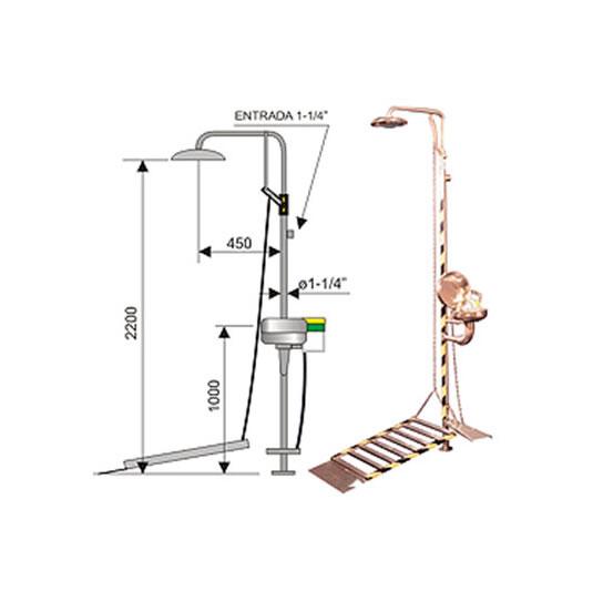 Ducha de emergencia con lavaojos 6013 de acero inoxidable – Accionamiento plataforma