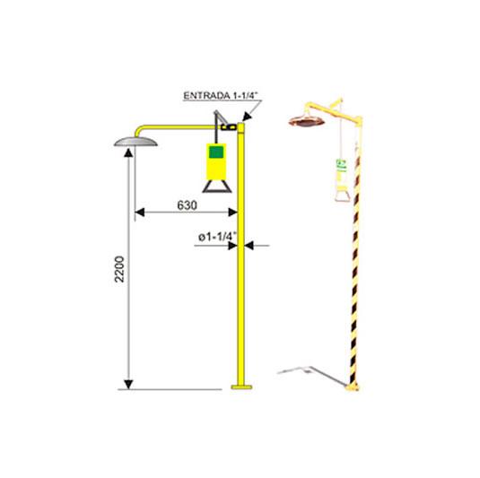 Ducha de emergencia 6015 de acero galvanizado – Accionamiento manual