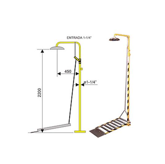 duchas-lavaojos Ducha de emergencia 6016 de acero galvanizado – Accionamiento plataforma